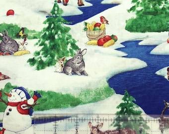 "Christmas fabric, Holiday Fabric: Critter Christmas Trees, Snowman, Deers, and Rabbits 100% cotton Fabric by the yard 36""x43"" (M51)"