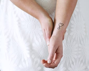 4 temporary tattoos infinite love / cute Valentine's Day temporary tattoo / heart temporary tattoo / small temporary tattoo / fake tattoo