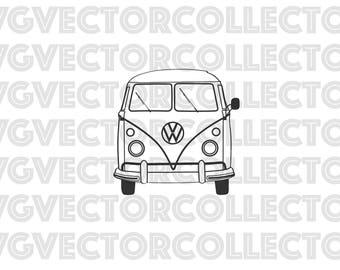 Volkswagen VW Microbus Bus, Svg Dxf Eps Png, Clip Art, Instant Digital Download