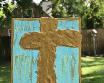 Blue N Gold Textured Cross