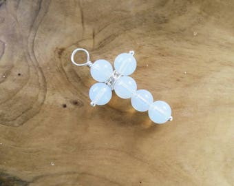 Opalite Cross Pendant in Sterling Silver, Med, custom Original Design, Natural Gemstones, Unique Christian Religious Gifts for Her Him #S548