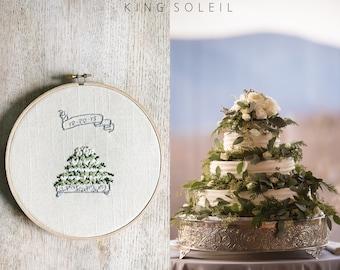 Custom Wedding Cake Embroidery Art