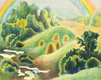 Rainbow - Soviet Vintage Color Lithography - Original - summer landscape