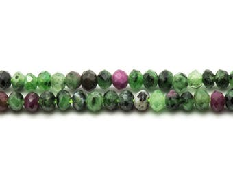 10pc - Pearl Ruby Zoisite faceted Rondelle 3.5 x 2.5 mm 4558550024022