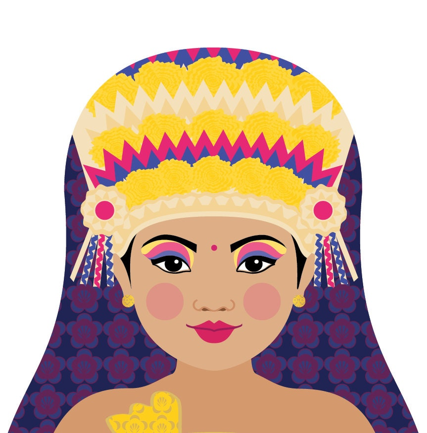 Balinese Dancer Art Print with traditional dress, matryoshka doll