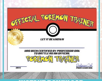 Pokemon Trainer Certificate Instant Download Printable