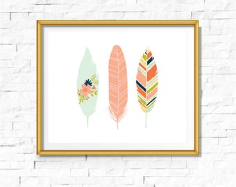 DIY Tribal Nursery Print | Feathers Print | Feathers Art Boho | Bohemian Nursery |Wall Decor | Wall Art | Printable Art| Mint Pink l | Bodhi
