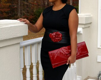 Red Leather Envelope Clutch Handbag with a Swirl