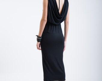 Black Casual Dress / Open Back Dress / Party Dress / Cowl Back Dress / Tea Length Dress / Stylish Dress / Marcellamoda - MD0147
