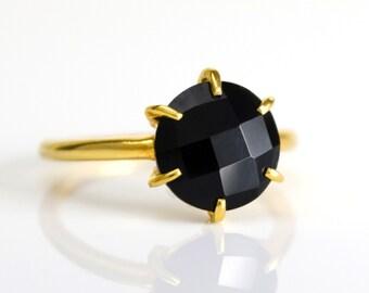 Black Onyx Ring, Birthstone Ring, Gemstone Ring, Stacking Ring, Gold Ring, prong set ring, round Ring, Black onyx jewelry, stacking ring