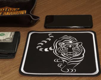 PU leather embroidered table tray Tiger