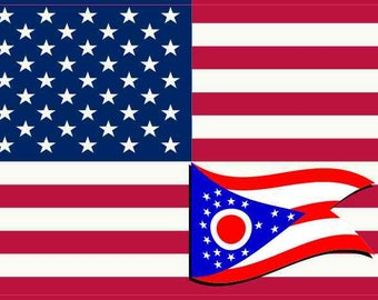 5in X 3in America and Ohio Flag Sticker Vinyl State Decal Vehicle Stickers