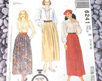 UNCUT McCall's 6241 Misses skirt, size 14, 16, 18, Vintage 1992, 90 Minute Pattern