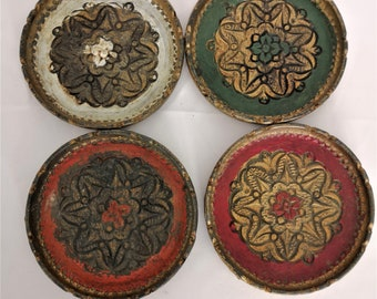 Italian Florentine coasters from the 70's vintage