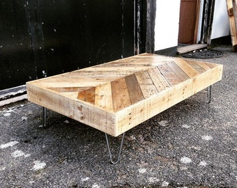 Chevron Coffee Table From Reclaimed Wood on Mid-Century Hairpin Legs
