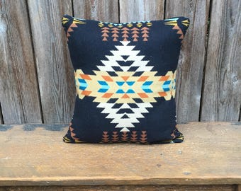 Tribal Wool pillow cover - Wool Pillow Cover - Rancho Arroyo Black - Black Tan Cream Pillow-Geometric Design Pillow -Oregon Wool