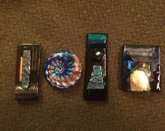 Four Hand Blown Formed Glass Pendant Lot
