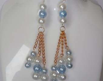 Earrings color blue turquoise and white
