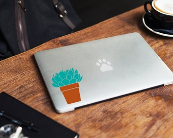 Potted succulent plant sticker, decal, your choice of color