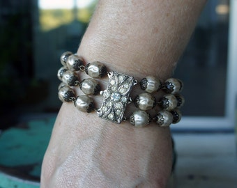 Antique Assemblage Glass Pearl Triple Strand Bracelet with Art Deco Rhinestone Clasp