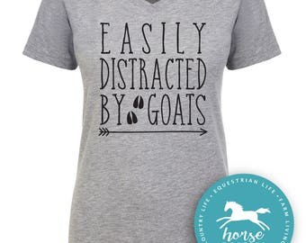Easily Distracted By Goats   Goat Shirt   Farm Shirt   Country   Women's Fitted V-Neck Tee   Fashion Fit   Soft