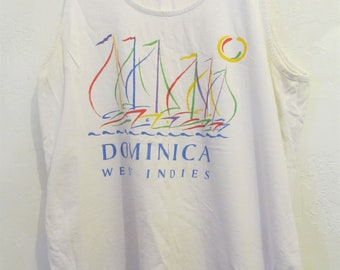 A Vintage 80's,White DOMINICA West Indies Tank Top by CARIBBEAN Style.L