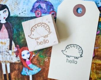 Hedgehog Rubber Stamp - Hello Stamp - Cute Stamp - Kawaii Stamp