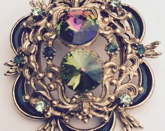 Vintage Green and Gold Brooch, Watermelon Rhinestone Brooch, Green Rivoli Rhinestone Brooch