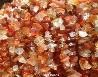 Carnelian Chip Beads 5x8mm on String