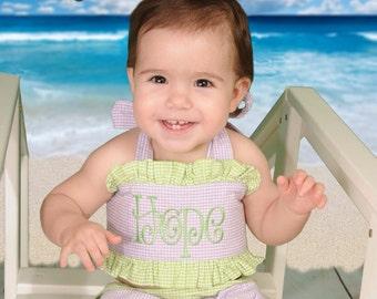 2 piece ruffle bikini monogram baby girl