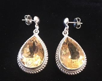 Fine Silver & Citrine Earrings