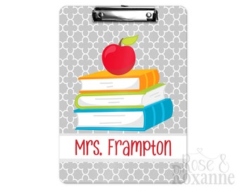 Personalized Teacher Clipboard Books and Apple | Back to School Gift | Teacher Gift