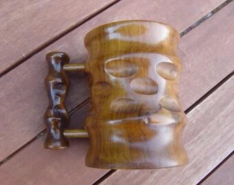 hand carved wooden tankard/stein