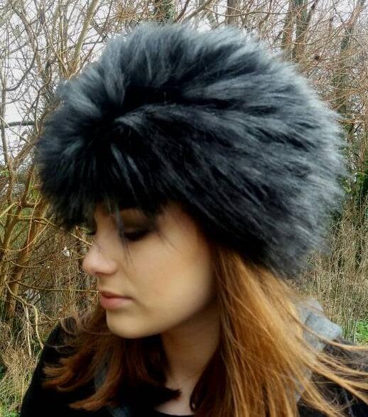 247b51be0 Black Wolf Faux Fur Russian Style Hat.