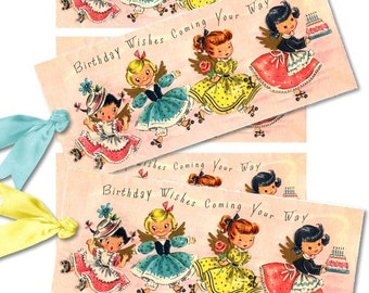 Set of 4 Digital Vintage LitTLe GiRL Birthday TaGS aNTiQUe DiGiTaL CoLLaGe sHeeT aLTeReD HaNg BooK JouRNaL SCRaPBooKiNg SuPPLieS