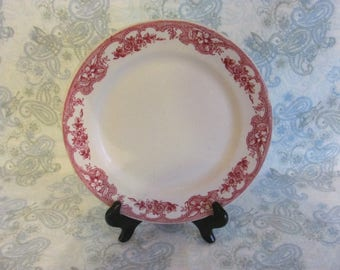 Antique Wellsville, Majestic Red Pattern, Red Transferware 9 in. Plate, Wellsville Red Transferware