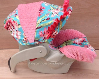 SALE **Infant Car Seat Cover- Love Bliss/ Coral
