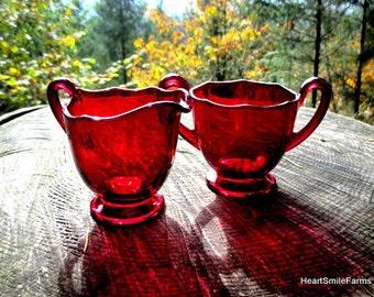 Newport Colony Ruby Glass Sugar Bowl and Creamer - Colony, Newport Ruby Scalloped Edge Sugar Bowl and Creamer