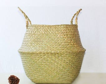 Natural Sea Grass Woven Foldable Belly Basket with Handle for Storage, Flower Plant Pot,Laundry