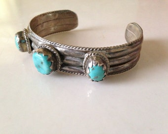 On Sale Native American STERLING and Turquoise Southwestern cuff bracelet