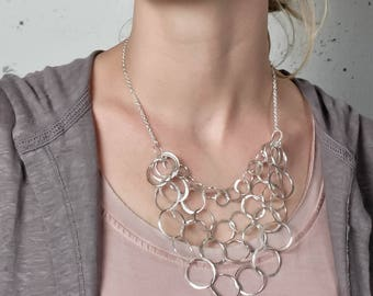 Silver Multi Strand Chain Necklace - Large Silver Statement Necklace - Bib Necklace - Statement Jewelry - Chunky Sterling Silver Chain