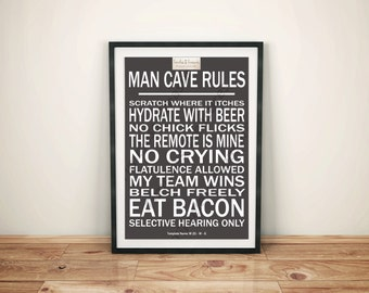 Man Cave Craft Eats Bacon : Man cave rules counted cross stitch pattern men bacon