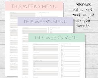 Weekly Meal Planner Printable - Meal Tracker - Menu Planner - Dinner Planner - Meal Planning - Family Meal Plan - Food Tracker