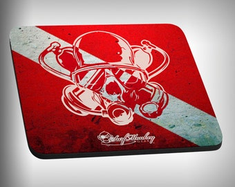 Dive Skull Mouse Pad Custom Graphic Novelty Mousepad Great Gift Customized Personalized