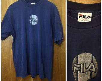 Vintage FILA Navy Blue Shirt Men's XL 90s