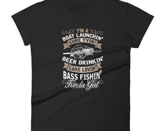 Country Girl Graphic Short Sleeve T-Shirt, I'm a Boat Launching, Lure Tying, Beer Drinking, Lake Loving, Bass Fishing Kinda Girl Gift