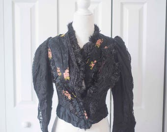 GORGEOUS Antique Bodice || 1880s Victorian Silk & Feathers || Asian Inspired Embroidery