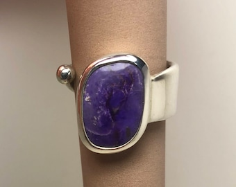 Silver and sugilite ring size 7-8