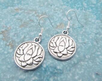 Lotus earrings, lotus jewelry, yoga earrings
