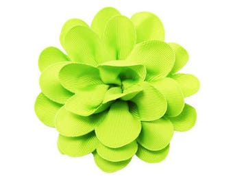 FLOWER ONLY: Lime Green Grosgrain Flower ~ Rounded Petals ~ Removable Dog Collar Add-on